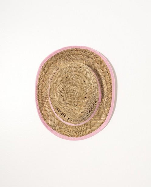 Chapeau de paille tressée - bord rose et bande - JBC