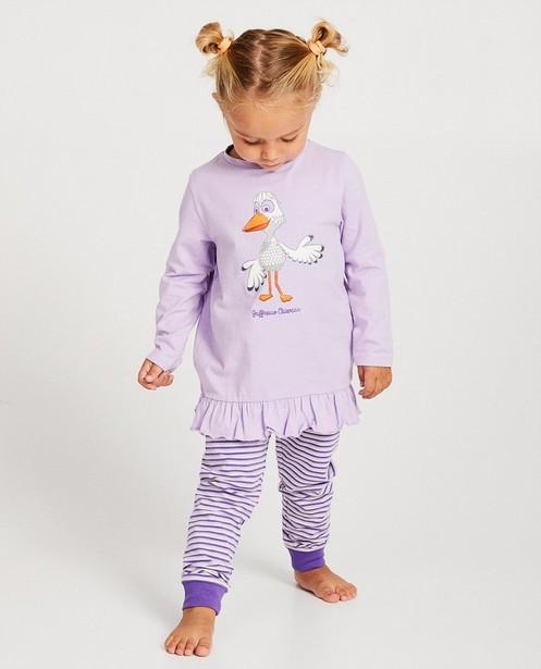 Pyjama mauve De Fabeltjeskrant - bords côtelés - fabe