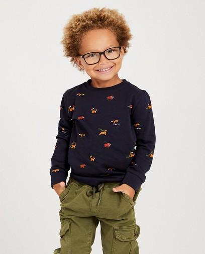 Donkerblauwe sweater met diertjes