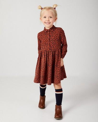 Roestbruine jurk met luipaardprint