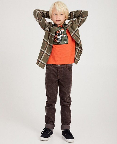 Khakigrünes Hemd aus Bio-Baumwolle I AM - mit Karomuster - I AM