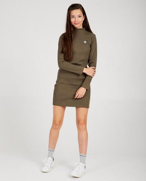 Kakigroene jurk met ribreliëf - met stretch - Groggy