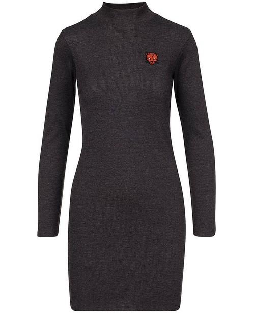 Donkergrijze jurk met ribreliëf - met stretch - Groggy