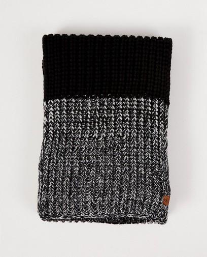 Zwarte sjaal met grijs en wit