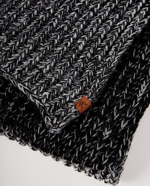 Breigoed - ZWM - Zwarte sjaal met grijs en wit