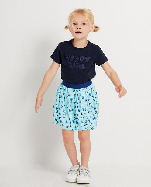 Marineblauw T-shirt met print - met textuur - JBC