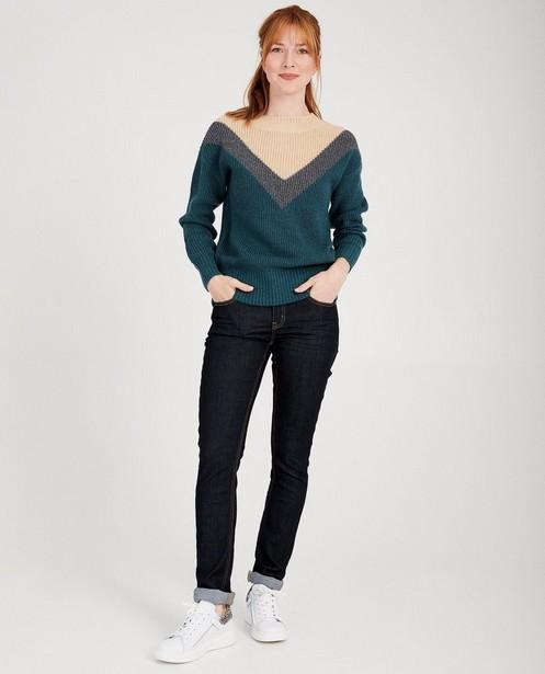 Blauwe trui met V-patroon Sora - gebreid - Sora