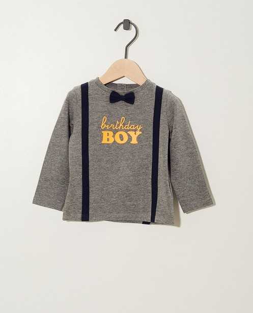 T-shirt « Birthday boy » gris - orange - cudd