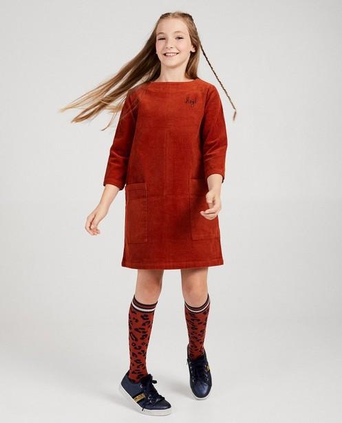 Robe rouge brun en velours côtelé - grosses côtes - fish
