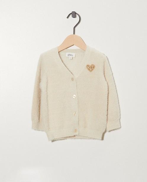 Gilet blanc moelleux, petit cœur - et fil métallisé doré - cudd