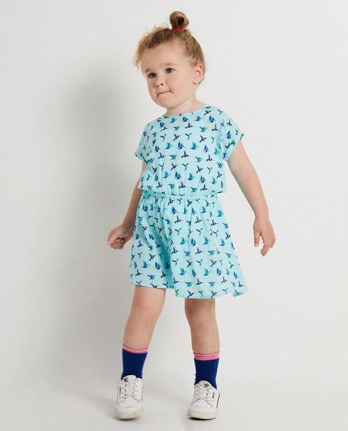 Blauw jurkje met vogeltjesprint - van viscose - JBC