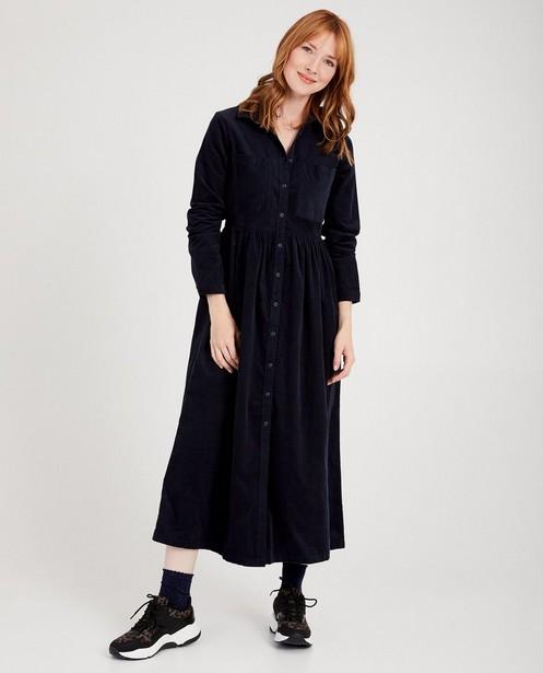 Donkerblauwe maxi-jurk Youh! - van ribfluweel - Youh!