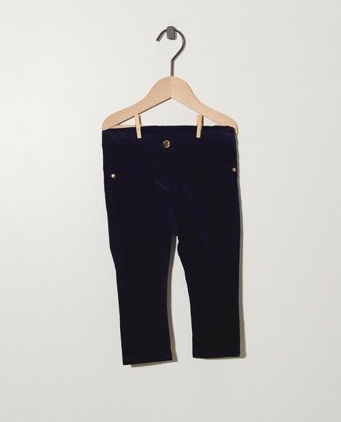 Donkerblauwe broek met ribfluweel - allover - cudd