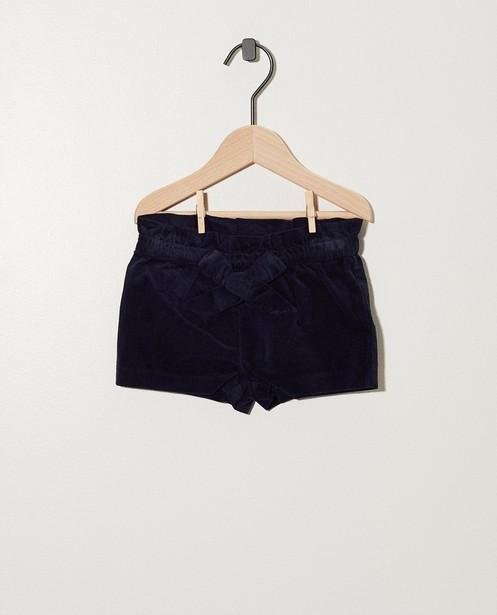 Donkerblauwe short in ribfluweel - allover - cudd