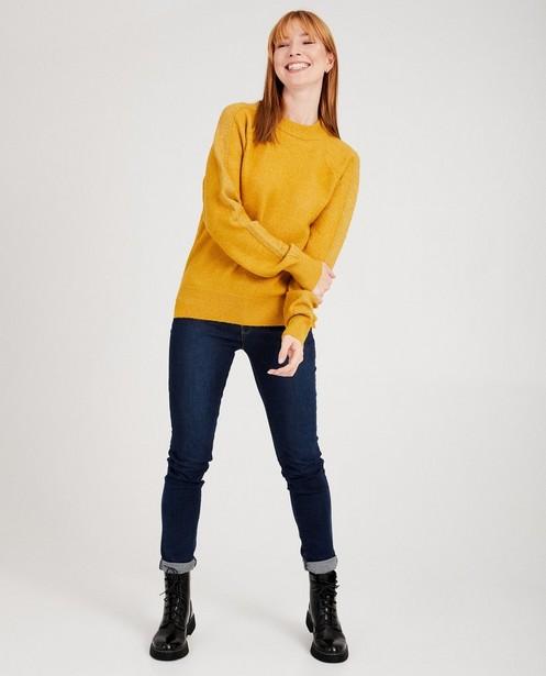 Pull jaune fil métallisé, Sora  - aux épaules - Sora