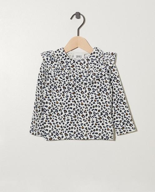 T-shirt blanc à manches longues - coton bio, avec des ruches - cudd