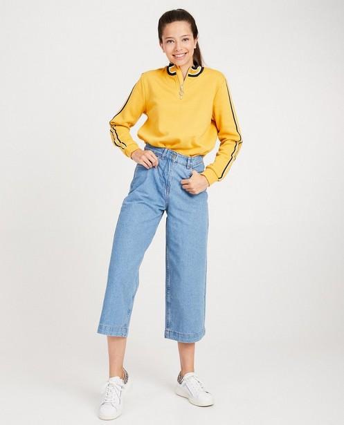 Gele sweater met rits - en opstaande kraag - Groggy