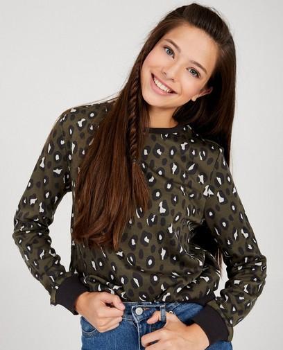 Kakigroene sweater met print