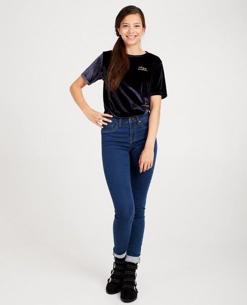 T-shirt van fluweel met opschrift - in 3 kleuren - Groggy