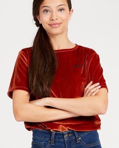 T-shirt van fluweel met opschrift