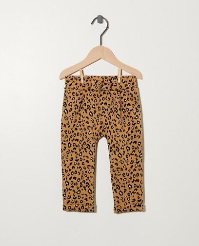 Pantalon beige, imprimé léopard