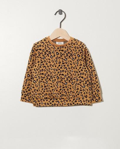 Sweat beige, imprimé léopard
