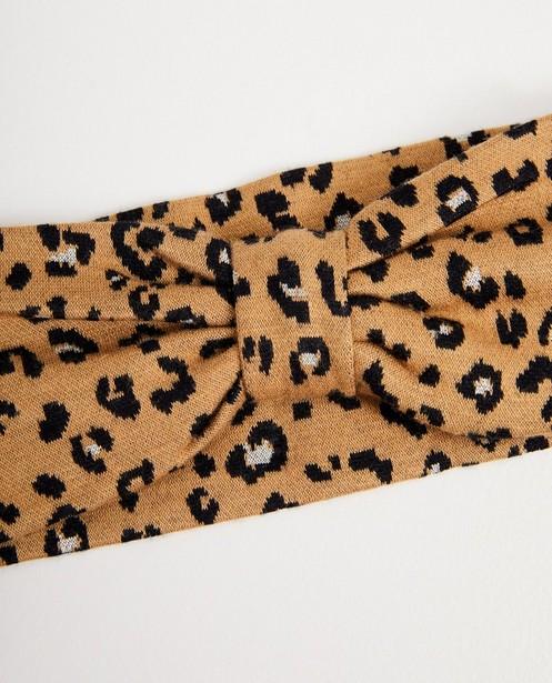 Strickware - Beigefarbenes Haarband mit Leopardenprint