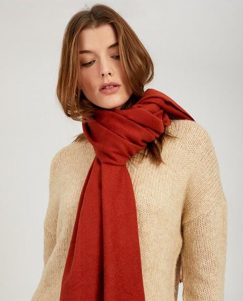 Roestbruine sjaal Pieces - franjes - Pieces