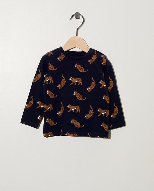 T-shirt bleu à manches longues - coton bio, imprimé de tigres - Cuddles and Smiles