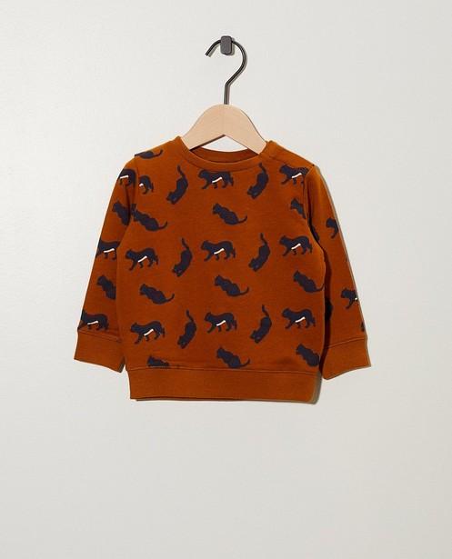 Cognac sweater van biokatoen - met print - cudd