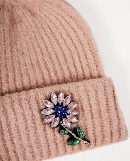 Bonneterie - pink - Bonnet rose à fleur Pieces