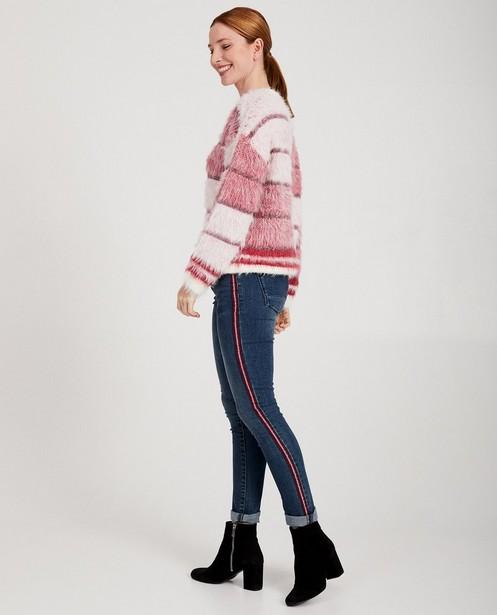 Pull tricoté rose et blanc Sora - fil métallisé - Sora