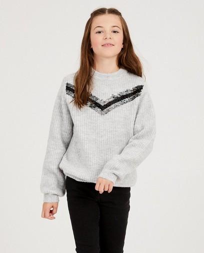 Grauer Pullover Pailletten Nachtwache