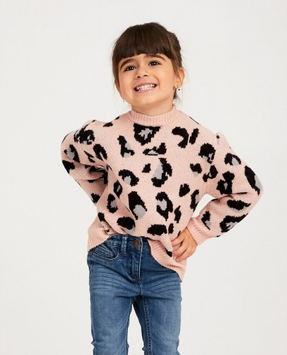 Roze trui met luipaardprint