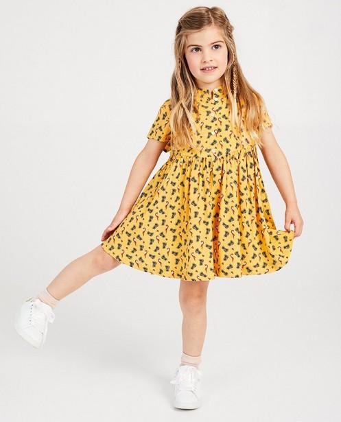 Gele jurk met vogelprint - allover - JBC