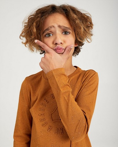 T-shirt brun à manches longues