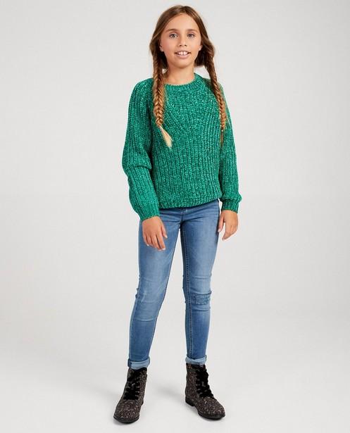Pull bleu clair à motif - tricot à grosses mailles - fish