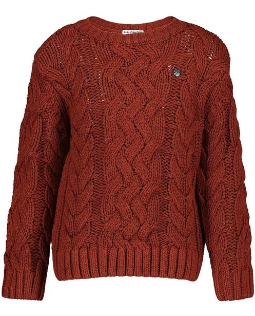 Pull brun à motif - tricot d'épaisseur moyenne - kidz
