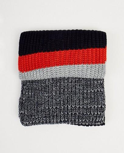 Donkerblauwe sjaal met strepen