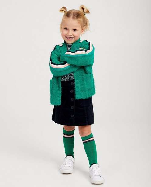 Cardigan vert à rayures Maya - fin tricot - Maya