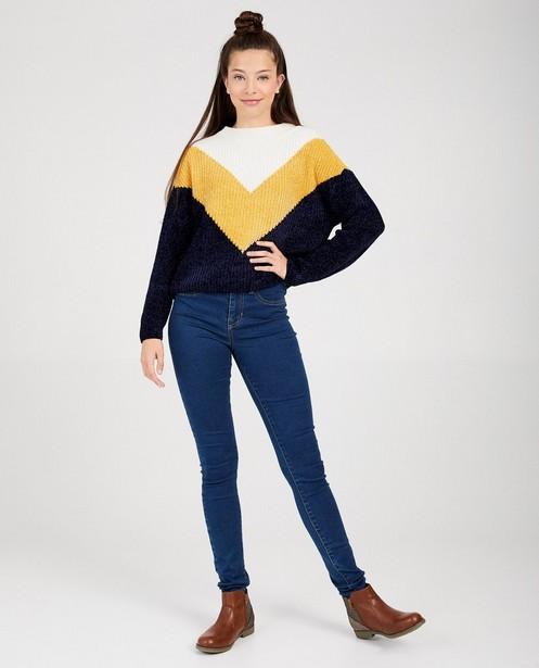 Gebreide trui met color block - met blauw, wit en geel - Groggy