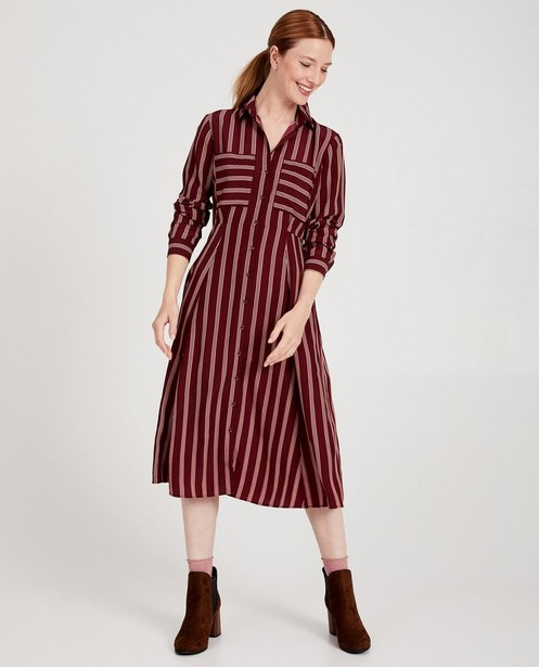 Bordeaux jurk met strepen Youh! - allover - Youh!