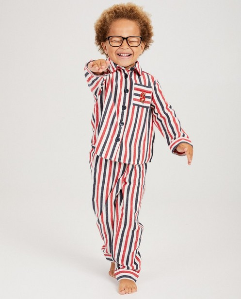 Pyjama met strepen Dag Sinterklaas - wit, blauw en rood - sylv