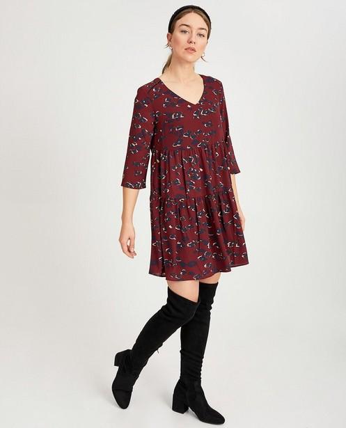 Bordeauxrode jurk met print Youh! - allover - Youh!