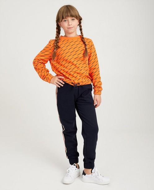 Oranje sweater met print Campus 12 - diagonaal - Campus 12