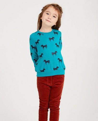 Türkiser Sweater mit Print