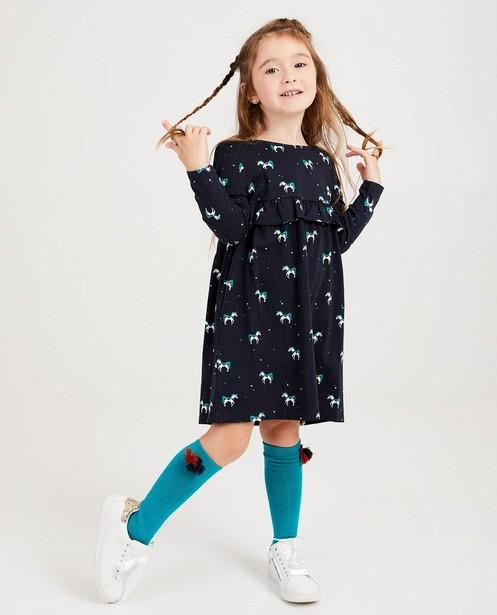 Donkerblauwe jurk met print - hartjes en eenhoorns - JBC