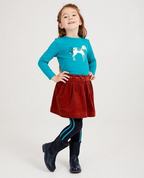 Turquoise shirt met eenhoorn - met glitter - JBC