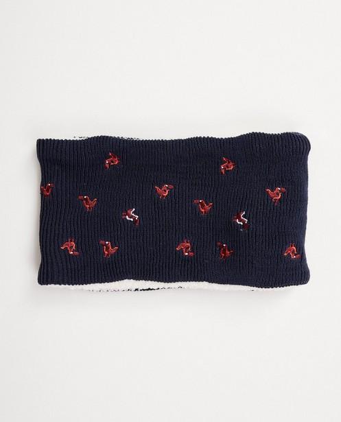 Écharpe tube bleu foncé - dinos, fin tricot - JBC