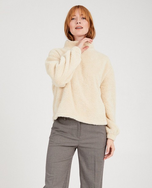 Sweaters - Beige teddy trui Sora